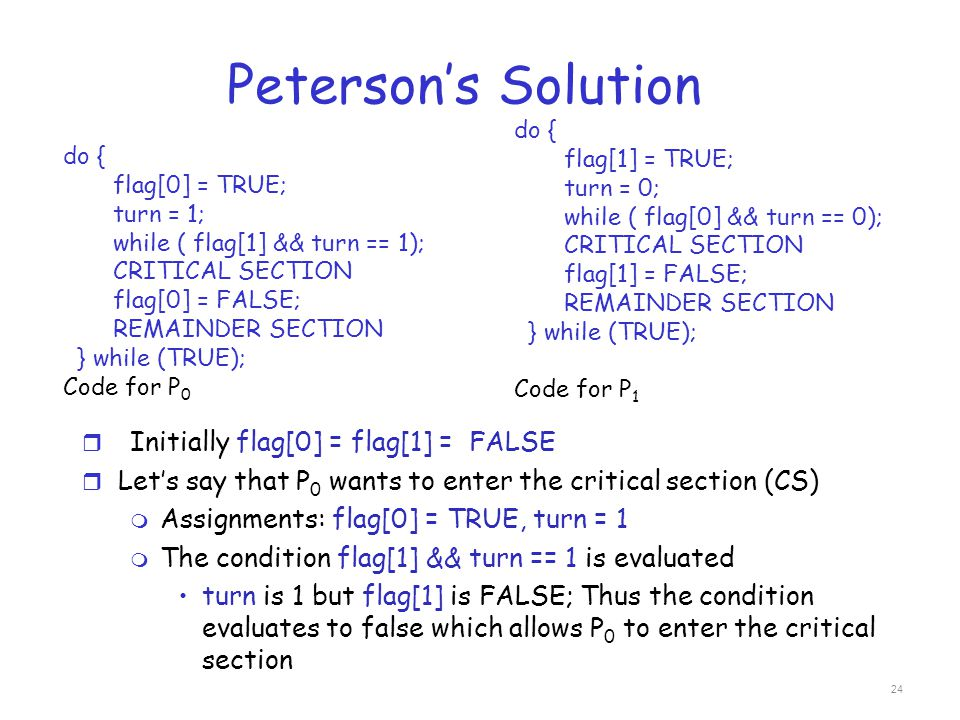 Peterson's Solution Initially flag[0] = flag[1] = FALSE
